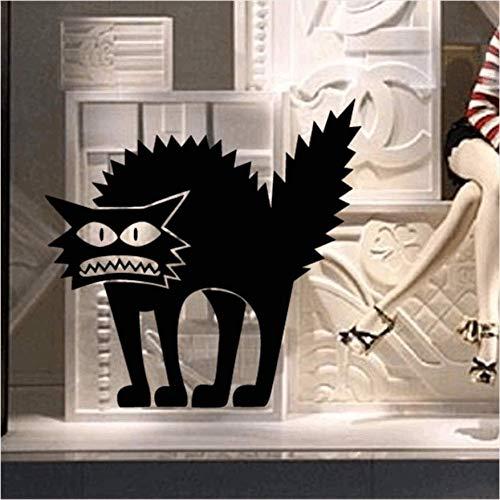 qhtqtt Wandaufkleber PVC Schwarze Katze Halloween Flugzeug Cartoon Fensterglas Aufkleber Kinder Wohnkultur Aufkleber 11X12,5 cm