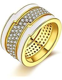 Blisfille Anillos Cruz Plata Anillo 52 49 Anillo Oro Blanco y Circonita Anillos con Diamante Anillo