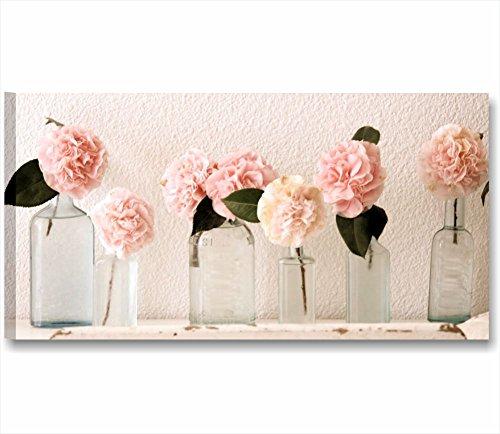 Quadri L&C ITALIA Rose Vintage 1 | Quadro Moderno Made in Italy Stampa Tela Canvas 90 x 45 | Shabby Chic Soggiorno, Cucina, Salotto, Camera Letto, Bagno | decori Fiori Eleganti peonie Rustico Country