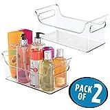 mDesign 2er-Set tragbarer Duschcaddy - für Dusche und als Badewannenablage - Kosmetikorganizer mit Griffen - durchsichtig