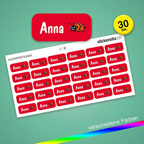 Stickerella - 30 Namensaufkleber für Kinder - Namensetiketten für Schule und Kindergarten, personalisierbar, permanent, wasserfest (11 x 26 mm) (rot)
