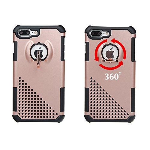 """xhorizon MW8 Drehend Metallring Kickstand Doppelschichtkasten Hybrid Hochleistung Stoßfester Absorption Schützend Case für iPhone 7 Plus [5.5""""] - Grau Rose-gold Mit einem 9H gehärtet Glasfilm"""