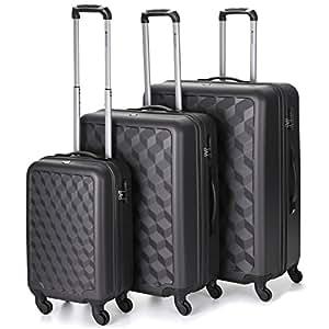 Aerolite ABS Luggage Set, 73 cm, 125.0 Liters, Charcoal