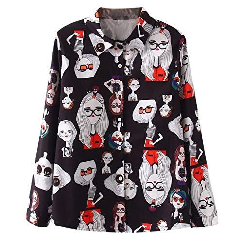 Popeline-3 Tasche (Damen Langarm Bluse V-Ausschnitt Katze Muster Druck Long Sleeve Pullover Shirt Tops Hemd-beiläufige lose Damenmode Vintage Hemdbluse)