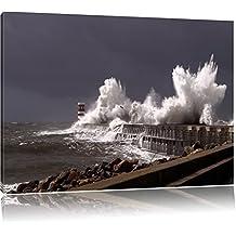 Coastal tempesta le onde del mare pittura rupe su tela, Immagini XXL completamente incorniciati con telai di grandi dimensioni cuneo. Stampa artistica su quadro a parete con cornice. Più economico di pittura o di un dipinto a olio, non un , Leinwand Format:60x40 cm