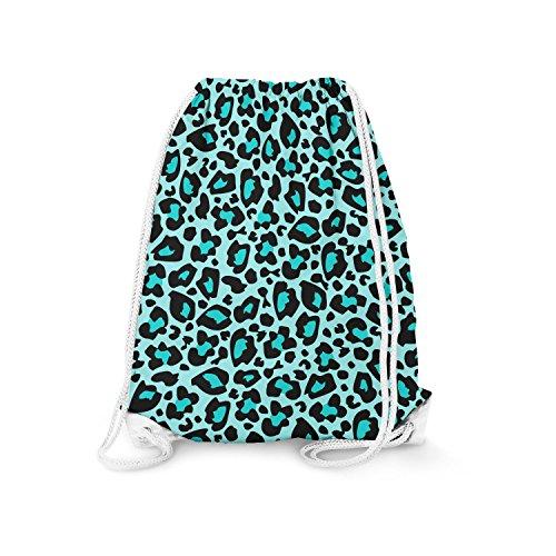 Bright Leopard Print Teal - Small (11.7 x 14.6) - Drawstring Bag Turnbeutel Gymtasche Gymsac -