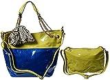 Fancery 2-in-1 Handtasche mit kleiner Tasche und passendem Tuch - Oliv mit Blau