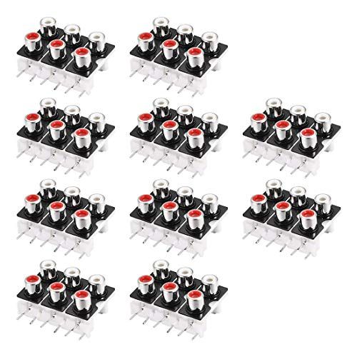 ZCHXD AV Concentric Outlet 6 RCA Female Jack 9 Pin Connector Socket Panel Mount 10pcs Electronic-outlet-panel