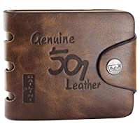 Mens Genuine Leather Bifold Wallet F1240 brown