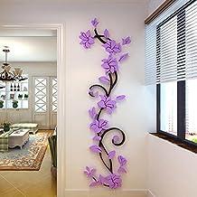 JamicyR DIY 3D Acryl Blume Wand Aufkleber Wohnzimmer Schlafzimmer TV Hintergrund Heimtextilien Lila