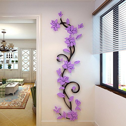 Wand Blume (Jamicy® DIY 3D Acryl Blume Wand Aufkleber Wohnzimmer Schlafzimmer TV Hintergrund Heimtextilien (Lila))