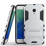 Fundas Meizu M5 Funda Carcasa Case, Ougger Protector Extrema Absorción de Impacto [Kickstand] Piel Armor Cover Duro Plástico + Suave TPU Ligero Rubber 2in1 Back Gear Rear Silver