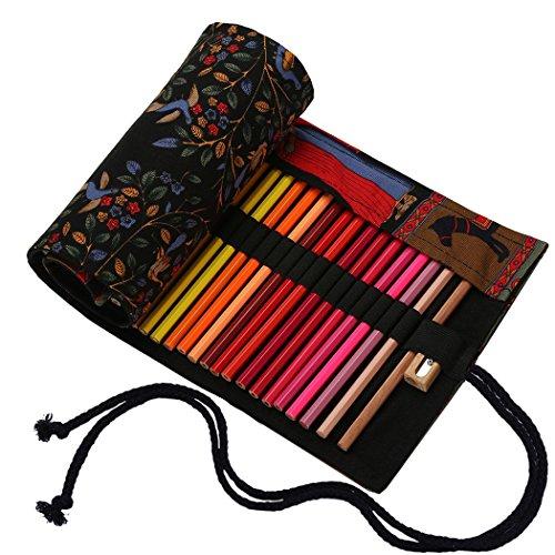 Amoyie - sacchetto della matita portamatite arrorolabile per 48 matite colorate porta penne tela wrap borse organizer astuccio portapenne scuola cassa del supporto di matita viaggio le albero nero 48