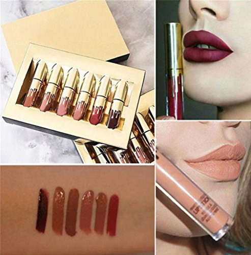 Transer 6 Pieces/Set Women Lipsticks Liquid Matt Lip Gloss Permanently Lip Liner Make up Balms