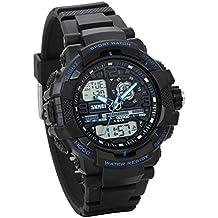JewelryWe Reloj Digital Deportivo para Niños Estudiantes, Tiempo Dual Multifunciones, Impermeable Relojes para Aire Libre, Regalo para Chicos Adolescentes, Azul