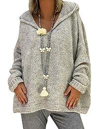 Jersey con Capucha Mujer Gordo Sueter de Punto Manga Larga Jerseys Grueso  De Señora Oversize Jerséis Largo Jerseis Chica Sweaters De… 00b62b967577