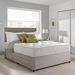 Grey Suede Memory Foam Divan Bed Set With Mattress, Headboard and 2 free drawers 4ft6 Double