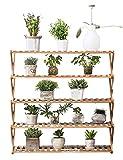 Pflanzenregale Bambus Blumentopf Display Regal Rack Pflanzenständer für Indoor Outdoor Garten, 5 Tier, Hellbraun Blumenständer