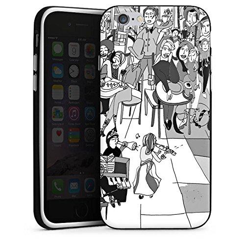 Apple iPhone 5s Housse Étui Protection Coque Extrait Ville Vie Housse en silicone noir / blanc