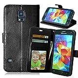 Handy schützen, Einfarbig Karte Standplatzlederkasten für Samsung-Galaxie S5 / S5 Mini / S6 / S6 Kante / S6 Kante Plus / S6 aktiv für Samsung