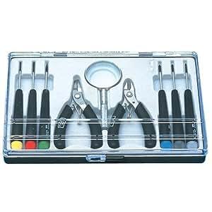 Kit d'outils 9 pi?ces pour ?lectronique (tournevis, loupe, pinces)