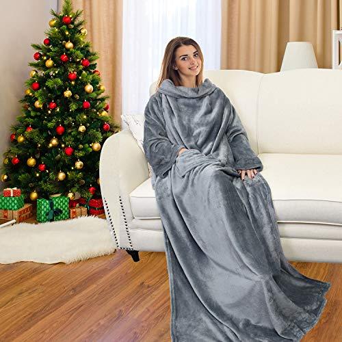 Catalonia TV-Decke mit Ärmeln und Tasche, Flauschig Weiche und Warme Tragbar Kuscheln Snuggle Decke Mikrofaser-Ärmeldecke Robe ideal für Frauen und Männer, 185 cm x 130 cm, Grau
