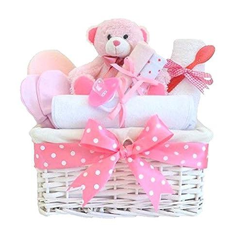 Angel White Wicker Girls Baby Gift Hamper / Baby Gift