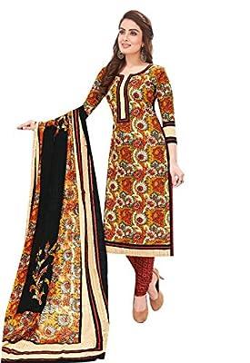 Ishin Cotton Yellow & Red Printed Unstitched Salwar Suit Dress Material (Anarkali/Patiyala) With Cotton Dupatta