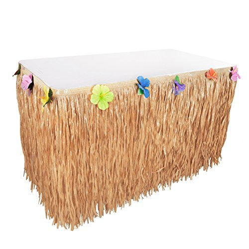 Hawaiian Luau Hibiskus natur Farbe Schnur und bunte Seide Faux Blumen Tisch Hula Gras Rock für Party Dekoration, Events, Geburtstage, Celebration (1Pack) von Super Z ()