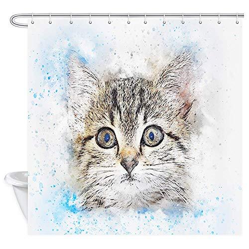 Aliyz Nette Katze duschvorhang Tier cat Print kätzchen Kitty Closeup Portrait Bild Decor für Bad wasserdicht frbric Bad vorhänge Polyester duschvorhang 12 stücke Haken 71X71in (Kätzchen Volant)