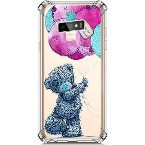 Galaxy Note 9 Hülle, Handyhülle Samsung Galaxy Note 9 Malerei Muster Weiche TPU Silikon Transparent Rückseite Case Tasche Etui Schutzhülle + 1 x Hpory Stylus - Ballon Bär ()