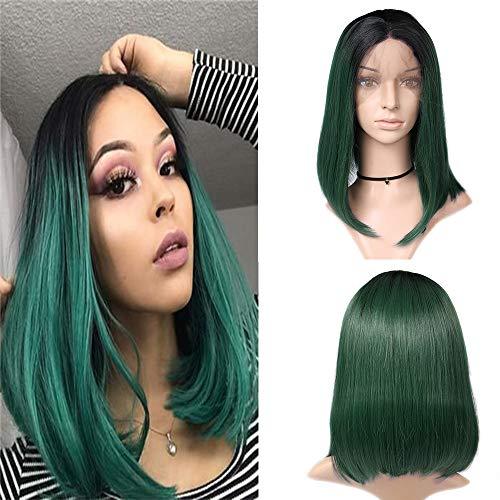 Human Hair Wig Lace Front Wig 1b Green Perücke Bob Wig Farbe Grün Ombre Hair Bleached Knots Straight Hair Echthaar Perücke Grade 9A Hair Top Qualität 14 zoll -