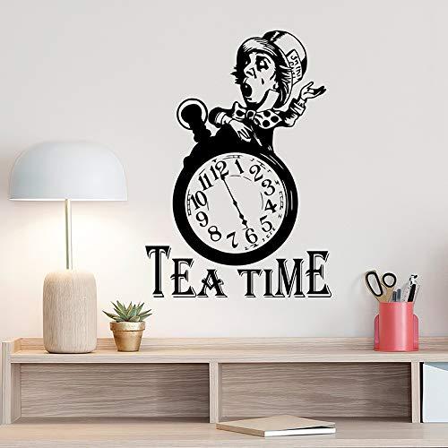 Tea Time Clock Wandaufkleber Mad Hatter Poster Zeichen Küche Dekoration Für Room Art Design Poster 42x60 cm