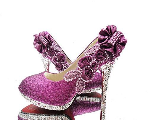 AgooLar Damen Hoher Absatz Rund Zehe Pumps Schuhe mit Blumen Schmuck Lila(FCT)