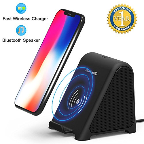 Altoparlante Bluetooth con Caricatore Wireless, 2 in 1 Portable Home Audio Stereo Player & 10 W/7.5 W/5W Fast Wireless Charger for X/8/8 Plus/Samsung S8/S8 Plus/S7 Edge/S7/S6 Edge Plus ect.