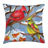 pigyear888 Cardinal Throw Pillow Cushion Cover, Stained Glass Style North American Mountain Birds Sitting on a Rowan Tree Branch, Decorative Square Accent Pillow Case, 18 X 18 Inches