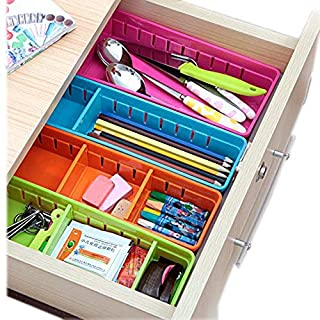 vahome® Drawer Storage Drawer Dividers Plastic Drawer Tidy Very Handy Trays,Set of 4 (Assorted Color)