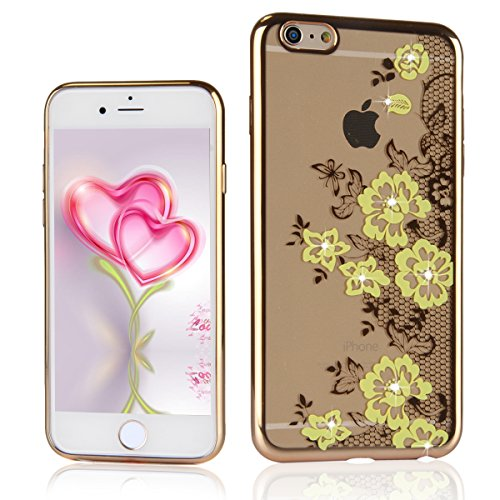 iPhone 6 / 6s Coque Housse Etui, iPhone 6s or Coque en Silicone Placage Coque Clair Ultra-Mince Etui Housse avec Bling Diamant, iPhone 6 / 6s Silicone Case Gold Slim Soft Gel Cover with Diamond, Ukayf Fleurs jaunes dentelle
