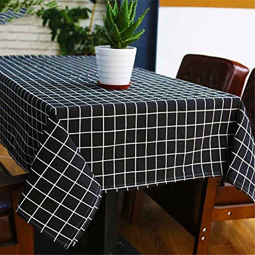 hwarz und weiß Karierten Leinen Tischdecke rechteckigen Küchentisch Wohnzimmer Couchtisch Hauptdekorationen E01 140x180cm ()
