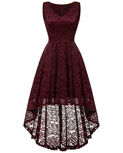 o Spitzenkleid Ärmellos Unregelmässig Vokuhila Kleid Cocktailkleid Brautjungfernkleider Burgundy 2XL ()
