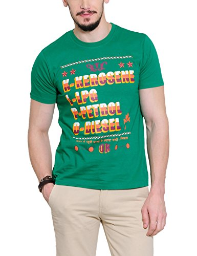 Yepme Men's Green Graphic T-shirt -YPMTEES0252_L  available at amazon for Rs.179