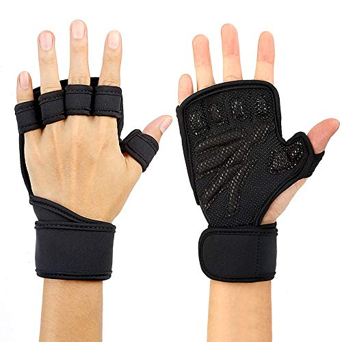 Black Cross-training Handschuh (Thinkcase Fitness Handschuhe, Sporthandschuhe mit integrierten Wrist Wraps, vollem Handschutz und extra Grip.Great für Klimmzüge, Cross-Training, Fitness & Weightlifting Black XXL)