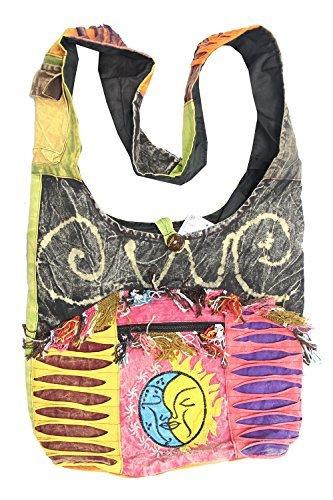 KayJayStyles Umhängetasche, Motiv: Sun Moon Hippie Boho Slouch Bag Sling Nepal, (grau), Einheitsgröße