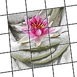 creatisto Dekor-Fliesen, Badfliesen | Fliesentattoo Küche Bad ergänzend zu Kühlschrankmagnet Wandtattoo | 20x20 cm Erholung Wellness Flower Buddha - 9 Stück