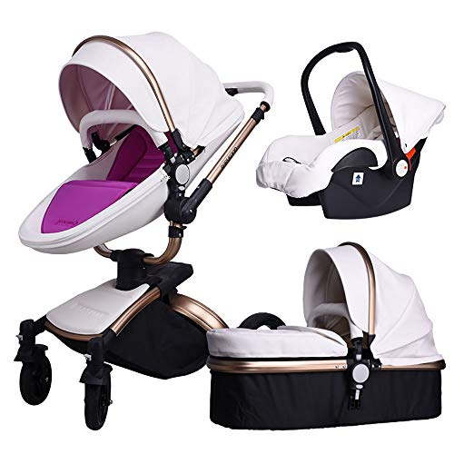 Baby Stroller,Babyfond 3 in 1 Baby Carriage Travel System Infant Pram Convertible Safety Car Seat Bassinet for Newborn and Toddler(White-F)