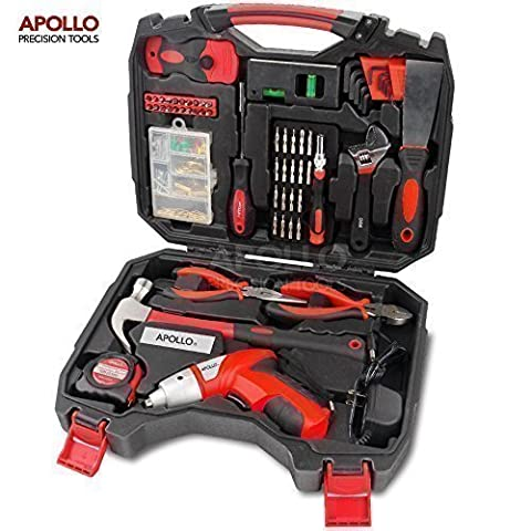Apollo 160 Piece Household Tool Kit including Powerful 4.8V Cordless Screwdriver with 600 mAh Ni-MH Battery & Most Reached for Hand Tools and an Up-To-Date Precision Screwdriver Bit Set, all in Sturdy Storage Box to Keep Tools Neat and
