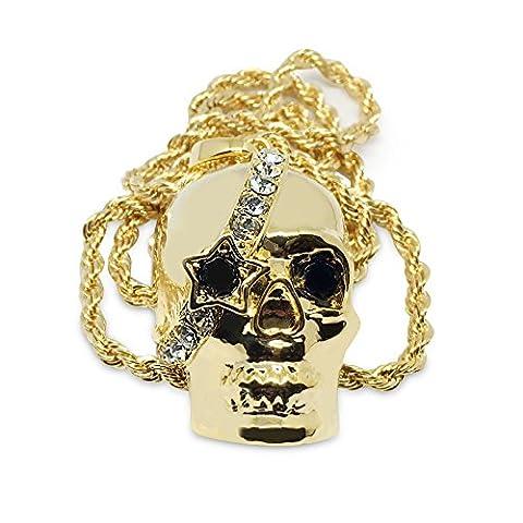 Premium 14K vergoldet Totenkopf mit Kristallen Hip Hop Bling Anhänger Kette Halskette
