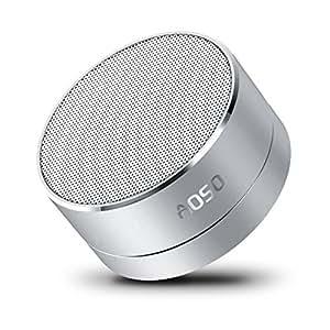 AOSO A10 Mini Altoparlante Portabtile Bluetooth Stereo Speaker wireless con grande suono, luce del LED, microfono, 3.5mm Aux-in e schede TF per iPhone, iPad, Samsung, Nexus, HTC, computer portatili e così on - Argento