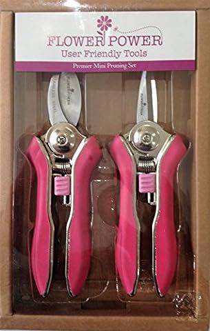 Ladies Gardening Mini Pruner Secateurs Set - Two Razor Sharp Pink Ladies Garden Secateurs - Bypass & Trimmer Ladies Secateurs - Best Womens Gardening Gift. On Sale Buy NOW!