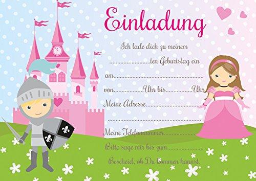 10 Einladungen zum Kindergeburtstag Prinzessinnen und Ritter (mit weißen Umschlägen)